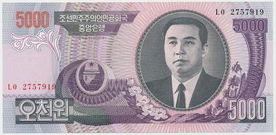 Severní Korea, 5000 Won 2006, P.46b