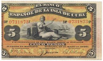 Kuba, 5 Pesos 1896, PLATA, P.48b