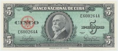 Kuba, 5 Pesos 1960, P.92