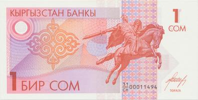 Kyrgyzstán, 1 Som (1993), P.4