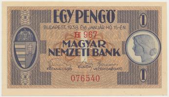 Maďarsko, 1 Pengö 1938, I. vydání, BHK.H1a