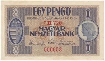 Maďarsko, 1 Pengö 1938, II. vydání s hvězdičkou, BHK.H1b