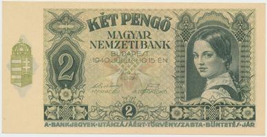 Maďarsko, 2 Pengö 1940, var. nažloutlého papíru, BHK.H2b