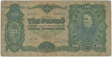 Maďarsko, 10 Pengö 1929, BHK.H5