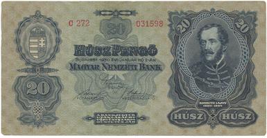 Maďarsko, 20 Pengö 1930, BHK.H7