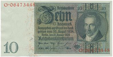 Německo, 10 Reichsmark 1929, typ H/H, BHK.D2a