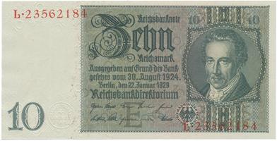 Německo, 10 Reichsmark 1929, typ O/O, BHK.D2c