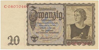 Německo, 20 Reichsmark 1939, BHK.D4