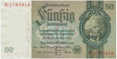 Německo, 50 Reichsmark 1933, 7- místný číslovač, typ H/H, BHK.D6a