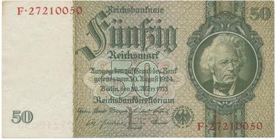 Německo, 50 Reichsmark 1933, 8-místný číslovač, typ O/O, BHK.D6d