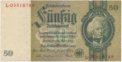 Německo, 50 Reichsmark 1933, válečná, BHK.D6e