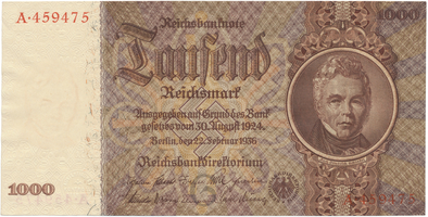 Německo, 1000 Reichsmark 1936, BHK.D10