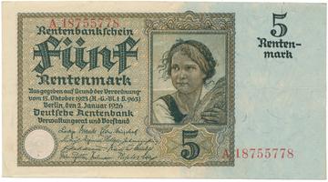 Německo, 5 Rentenmark 1926, BHK.D13b