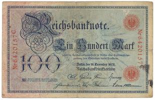 Německo, 100 Mark 1905, číslovač 29 mm, Ro.23b