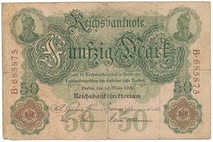 Německo, 50 Mark 1906, 6-místný číslovač, Ro.25a