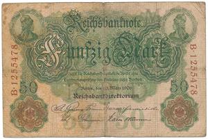 Německo, 50 Mark 1906, 7-místný číslovač, Ro.25b