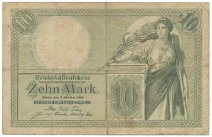 Německo, 10 Mark 1906, 7-místný číslovač, Ro.27b