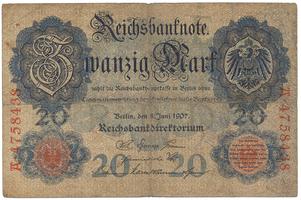 Německo, 20 Mark 1907, Ro.28
