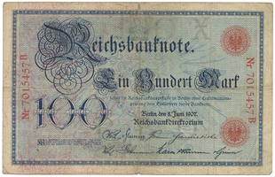 Německo, 100 Mark 1907, Ro.30