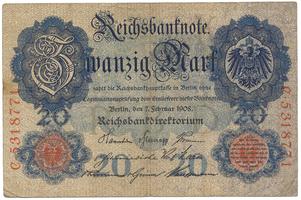 Německo, 20 Mark 1908, Ro.31