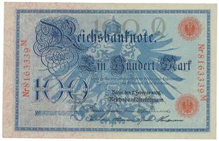 Německo, 100 Mark 1908, červený číslovač 29 mm, Ro.33b