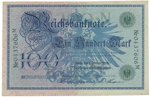 Německo, 100 Mark 1908, zelený číslovač, Ro.34