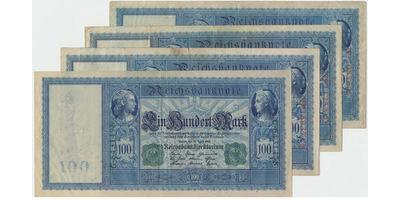 Německo, 100 Mark 1908, 1909, 1910, 1910, Ro.35, 38, 43b, 44a, 4 ks
