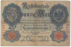 Německo, 20 Mark 1909, Ro.37