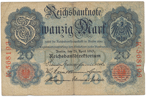 Německo, 20 Mark 1910, 6-místný číslovač, Ro.40a