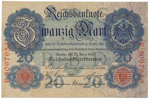Německo, 20 Mark 1910, 7-místný číslovač, Ro.40b