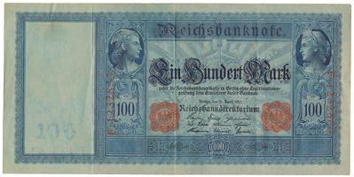 Německo, 100 Mark 1908, červený číslovač, modrý papír, Ro.43b