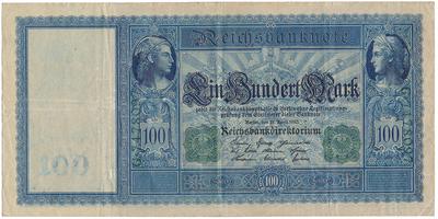 Německo, 100 Mark 1908, zelený číslovač, bílý papír, Ro.44a