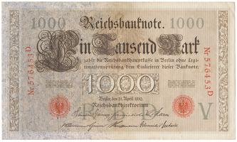 Německo, 1000 Mark 1910, červený 6-místný číslovač, Ro.45a