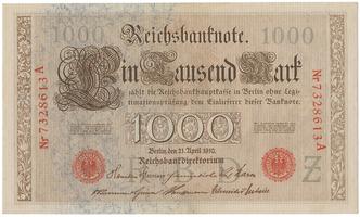 Německo, 1000 Mark 1910, červený 7- místný číslovač, série A, B, Ro.45b
