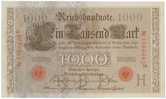 Německo, 1000 Mark 1910, červený 7- místný číslovač, modrá vlákna, Ro.45c