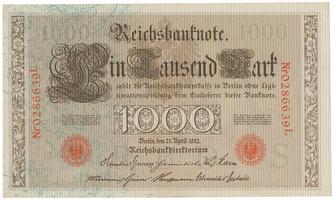 Německo, 1000 Mark 1910, červený 7- místný číslovač, zelená vlákna, Ro.45d