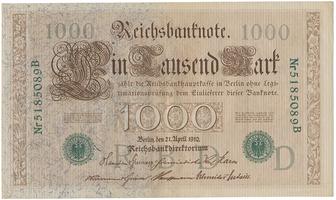 Německo, 1000 Mark 1910, zelený 7-místný číslovač, Ro.46b