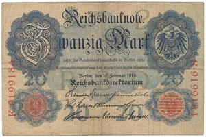 Německo, 20 Mark 1914, 7-místný číslovač, Ro.47b