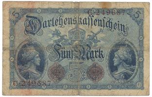 Německo, 5 Mark 1914, 6-místný číslovač, Ro.48a