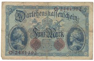 Německo, 5 Mark 1914, 7-místný číslovač, Ro.48b