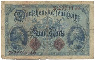 Německo, 5 Mark 1914, 8-místný číslovač, Ro.48c