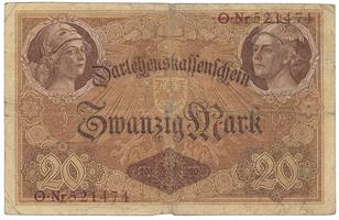 Německo, 20 Mark 1914, 6-místný číslovač, Ro.49a