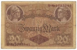 Německo, 20 Mark 1914, 7-místný číslovač, Ro.49b
