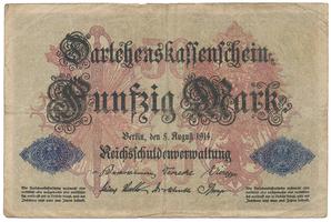 Německo, 50 Mark 1914, 7-místný číslovač, Ro.50b