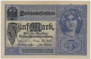 Německo, 5 Mark 1917, 7-místný číslovač, Ro.54a