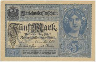 Německo, 5 Mark 1917, šedomodrá, 8-místný číslovač, Ro.54b