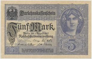 Německo, 5 Mark 1917, 8-místný číslovač, Ro.54c