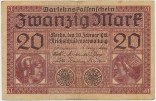 Německo, 20 Mark 1918, Ro.55
