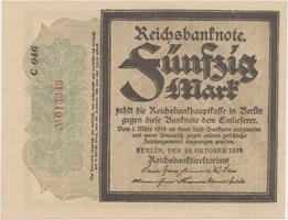 """Německo, 50 Mark 1918, """"TRAUERSCHEIN"""", Ro.56a"""