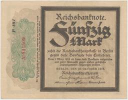 """Německo, 50 Mark 1918, """"TRAUERSCHEIN"""", Ro.56c"""
